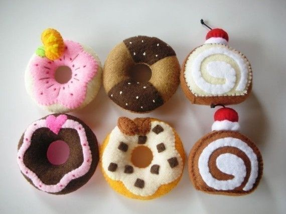Donut and Jam Roll Felt Food Sewing pattern PDF by julyhobby