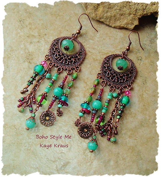 Rustic Boho Tribal Gypsy Earrings Bohemian Jewelry by BohoStyleMe: