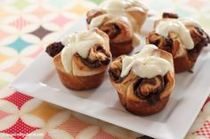 Nutella Rolls with Cream Cheese Frosting recipe via @inspiredbycharm
