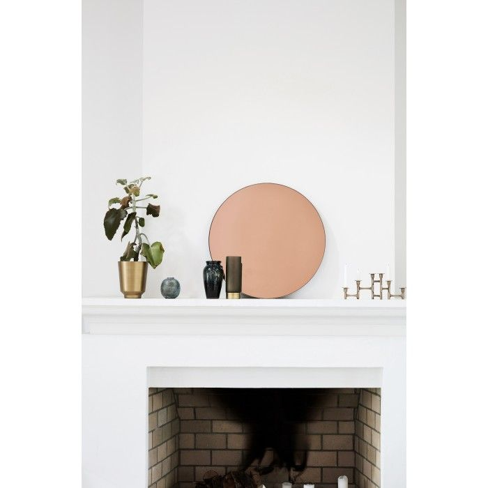 Round Rose Gold Wall Mirror by House Doctor