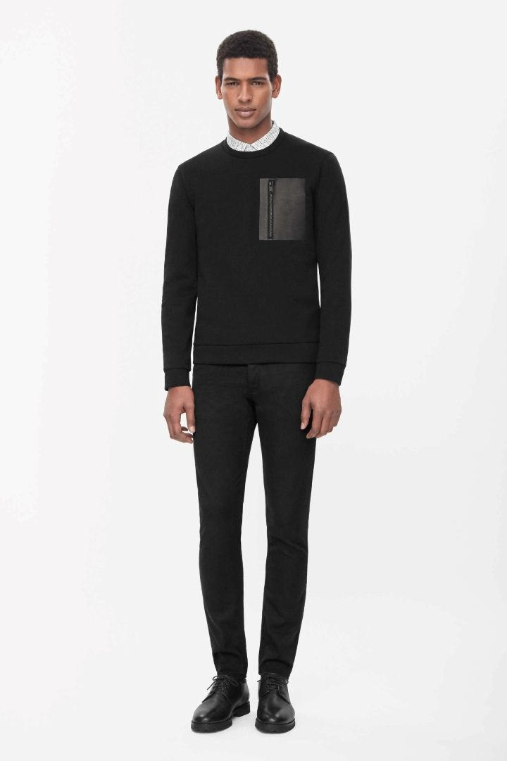 COS   Leather pocket sweatshirt