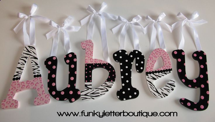 Cotton Candy Zebra Cheetah Print Tween Hand Painted Wooden Name Letters Personalize Your Space. $10.95, via Etsy.