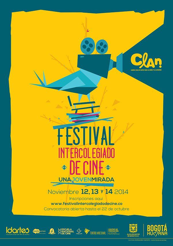 Afiche Festival Intercolegiado de Cine. Diseño: Ferney Rodríguez. Bogotá, 2014.