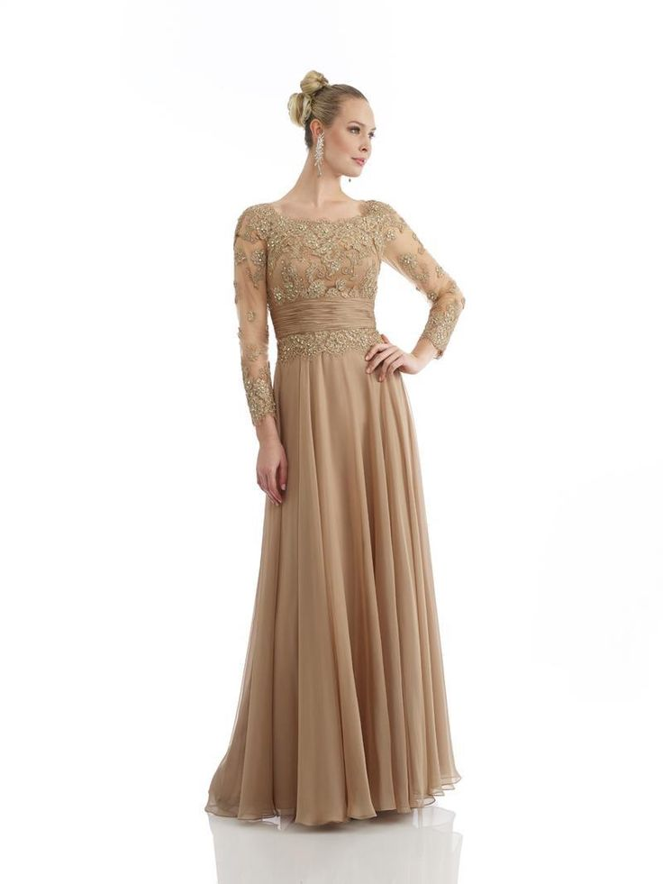 Gold Lace Mother Of The Bride Dress Elegant Party Evening Dress Sheath Mother Dress With Long Sleeve Chiffon Dress Party Evening £89.37