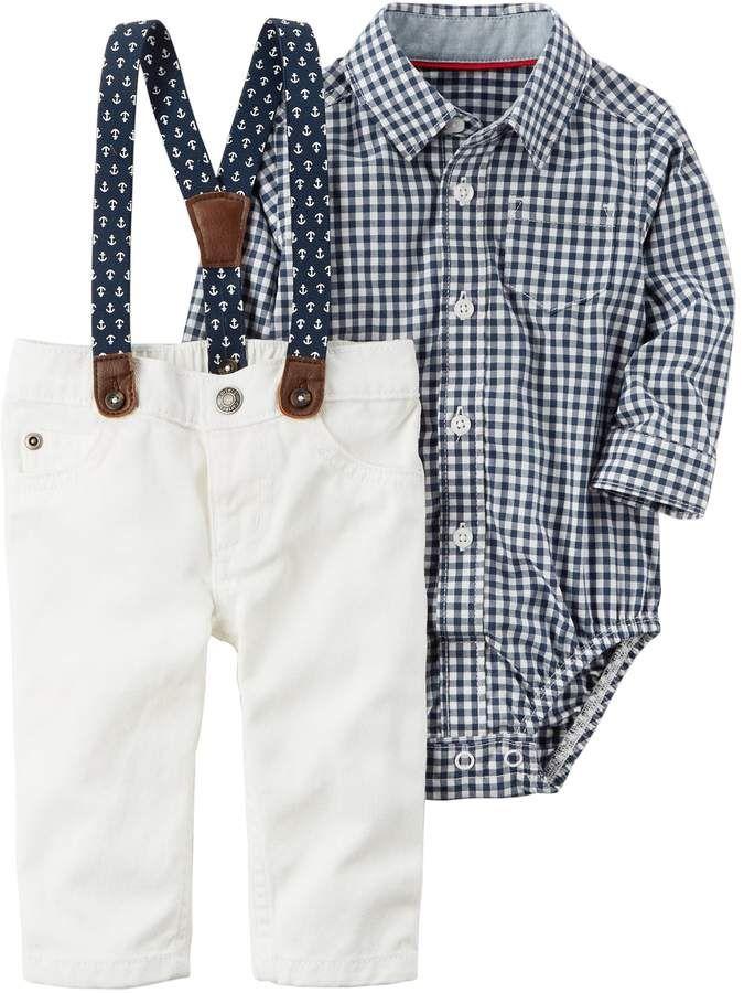 f6d15af02fd8 Baby Boy Carter s Gingham Bodysuit   Pants with Suspenders Set