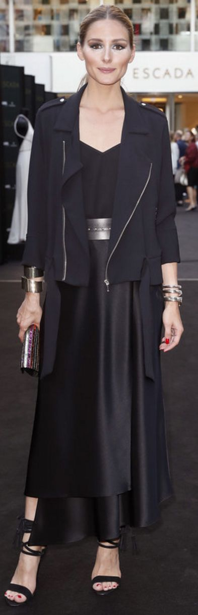 Who made Olivia Palermo's black jacket, belt, gold watch, purple clutch handbag, and dress?