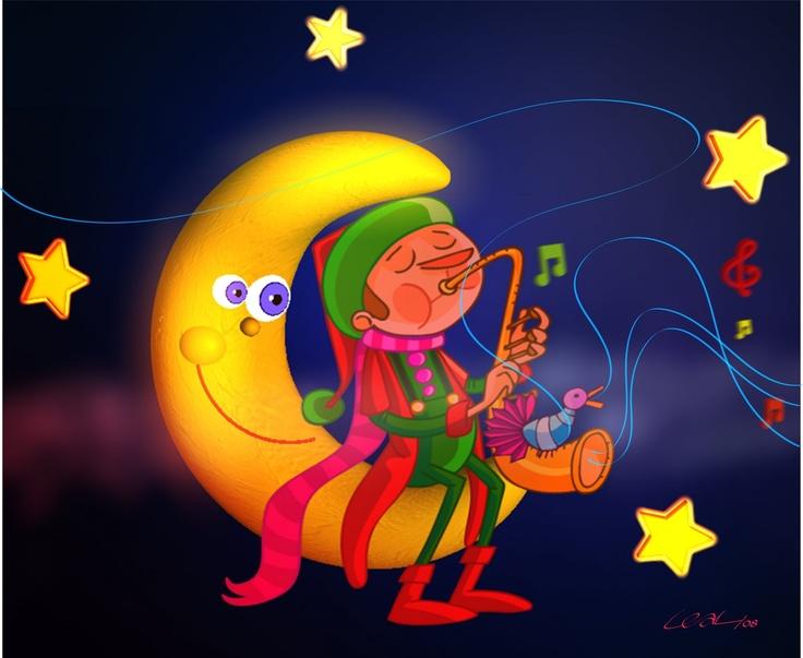 Luna - estrellas - duende - saxofón - ilustración Freddy Leal