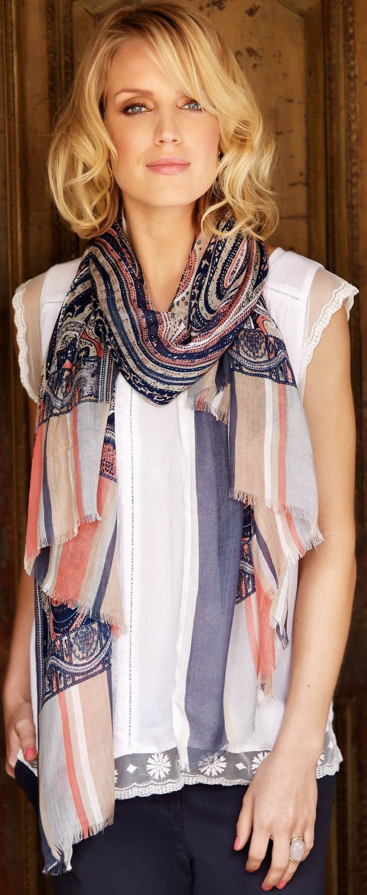 Here's a great way to wear modern lace trend for weekends. Wearing a scarf like this will keep your bra from showing. See more tips: http://www.boomerinas.com/2012/11/24/how-to-wear-lace-trend-for-women-over-40-50-60/