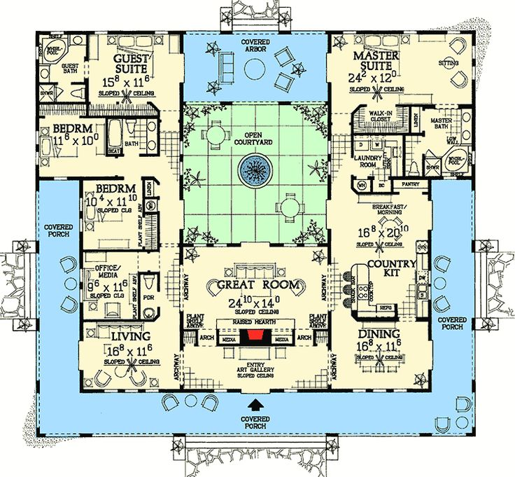 Open courtyard dream home plan 81384w 1st floor master for V shaped architecture