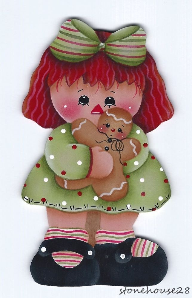 HP RAGGEDY ANNE with Gingerbread FRIDGE MAGNET #Handpainted
