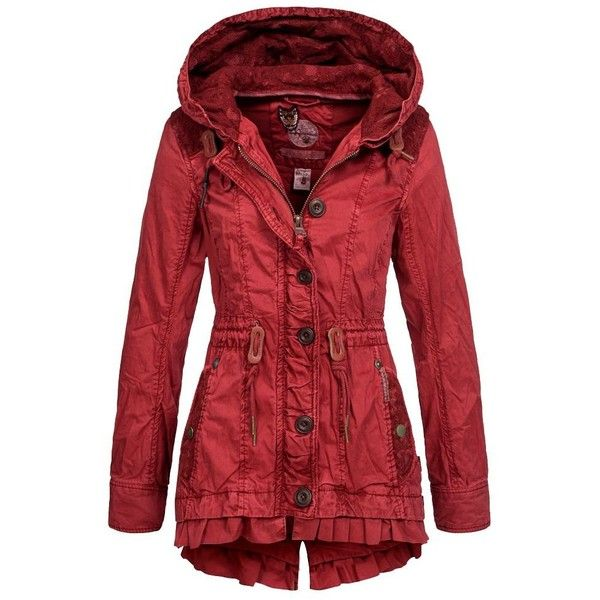 Khujo Damen Übergangsjacke Molly Damenjacke Übergangs Sommer Jacke... ❤ liked on Polyvore featuring outerwear, coats, red coat, red parka and parka coat