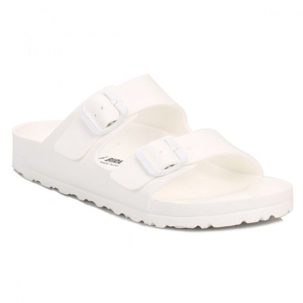 Womens White Arizona EVA Sandals ($35) ❤ liked on Polyvore featuring shoes, sandals, birkenstock shoes, lightweight shoes, light weight shoes, birkenstock and birkenstock footwear