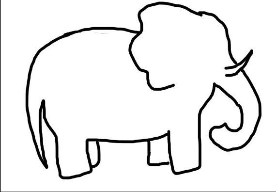 Vintage Stitch Elephant Outline Embroidery Design