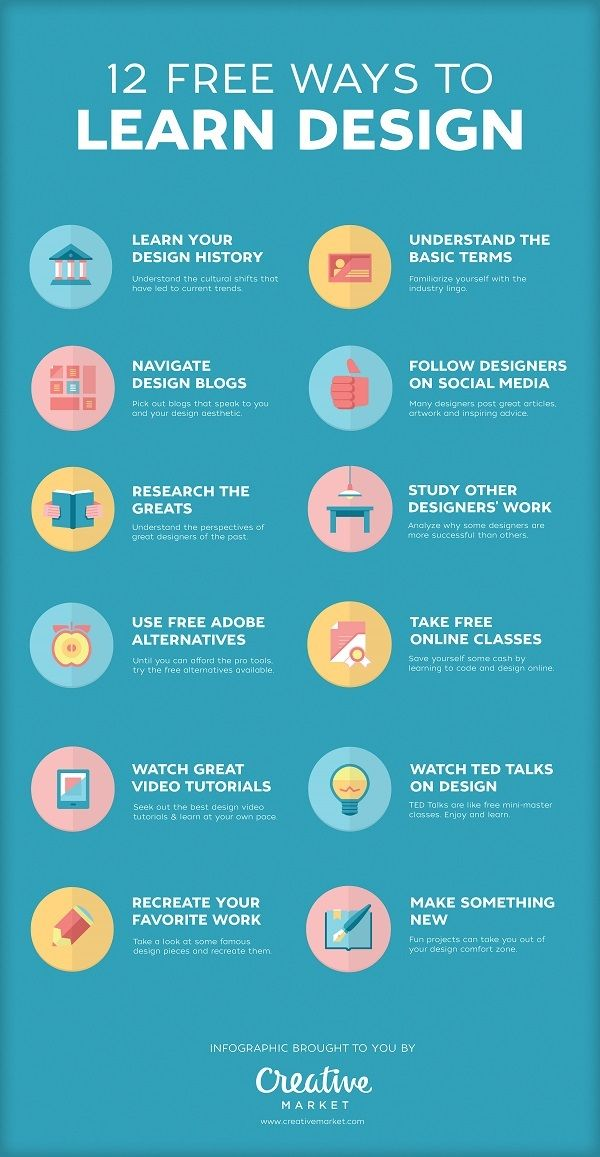 12 Free Ways To Learn Design. #Infographic