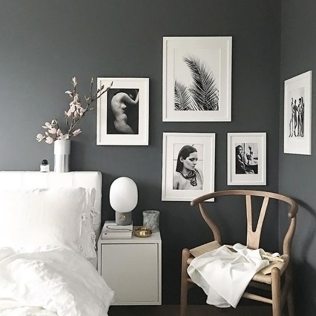 A grey and white bedroom by palettenoir interiors for Grey wall bedroom ideas