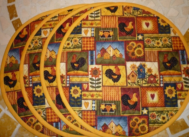 Quilted Placemats Reversible 15 Round Placemat By CLKconcepts