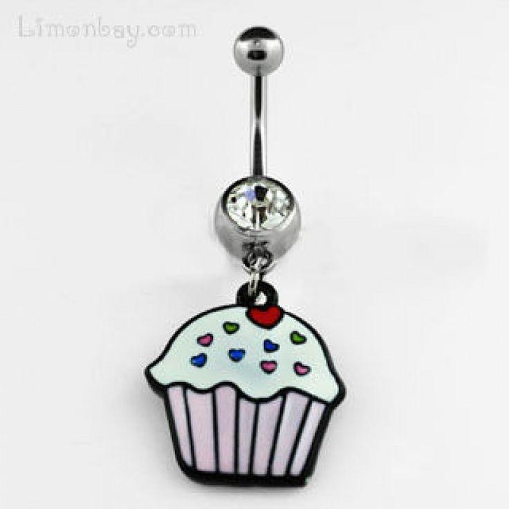 Piercing de ombligo. Grosor: 1,6mm. Con cristal de peridot y diseño colgante de magdalena o muffin.  Largo del muffin: 19mm. Comprar piercings, 4.69
