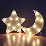 Lovely 3D Star Moon Set LED Night Light,Battery Operated LED Marquee Sign,Decorative Table Lamps for Baby Children Bedroom, Nice Kids Gift Toy-WW