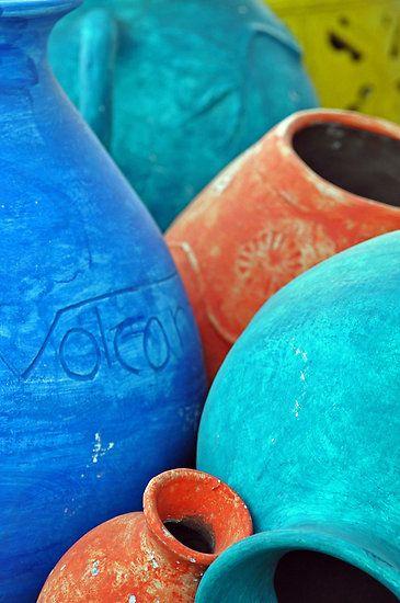 Ceramic vases | orange & blue