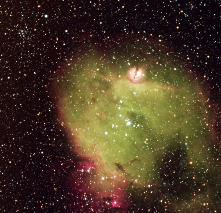 N214C, an emission nebula in the LMC ---  N214C is an emission nebula of approximately 160 x 170 light-years across located within the Large Magellanic Cloud, a small satellite of the Milky Way that lies some 163,000 light-years away from Earth in the constellation of Dorado. It is part of the H II region N214, and is a noteworthy region of ongoing star formation.