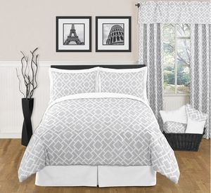 Gray and White Diamond Modern Contemporary 3pc Bedding Set