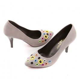 Fashion Gentlewoman Color Round Surface High-Heeled Pump Grey