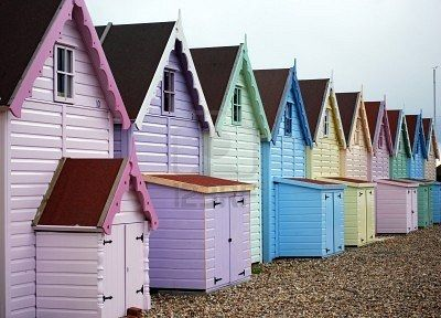 pastel beach huts too cute