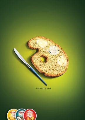 En este cartel publicitario solo hay dos elementos que llaman la atención, la tostada con queso y el cuchillo. Estos dos objetos están colocados de forma que parezcan un pincel y una paleta para así dar sentido al eslogan.