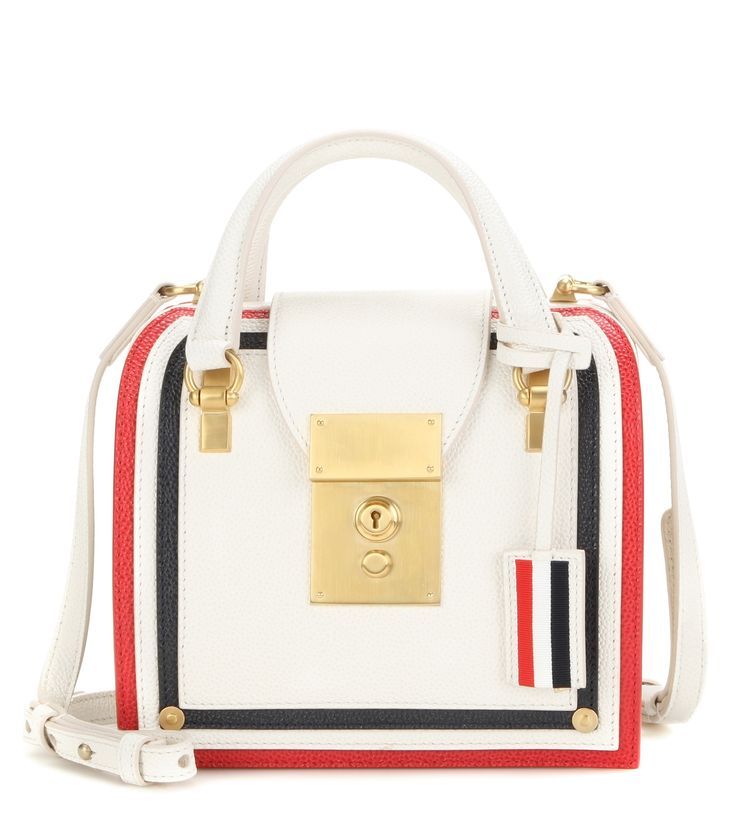 Mrs Thom Mini white, red and blue leather tote