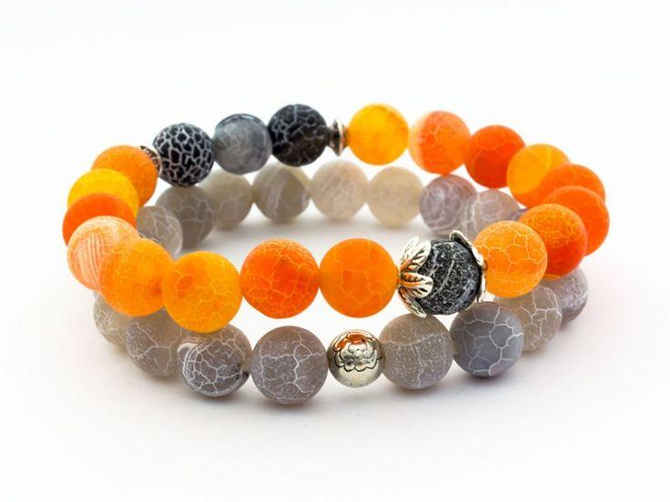 #Handmade bracelet from Hungary  Felkelő nap achát ásvány karkötő csomag