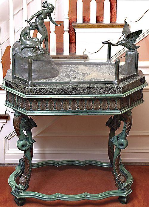 Rare antique Austrian bronze aquarium, designed to be a centerpiece for a  formal antique dining table.  [Photo courtesy of Stuart Holman]