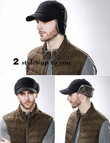 Wool Winter Visor Baseball Cap Earflap Hat Faux Fur for Men Fitted Size  Black  SIGGI 72ee14968641