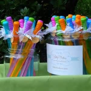 Party favor idea-bubbles in the long tubes, tied with ribbon or tulle