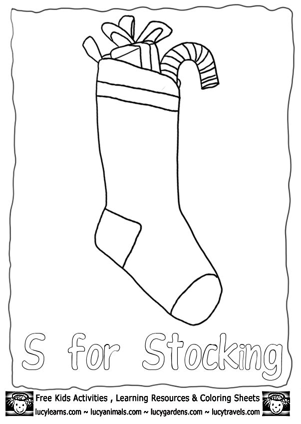 Christmas Stocking Template Coloring Page Lucys Printable Xmas Pictures To Color From Our