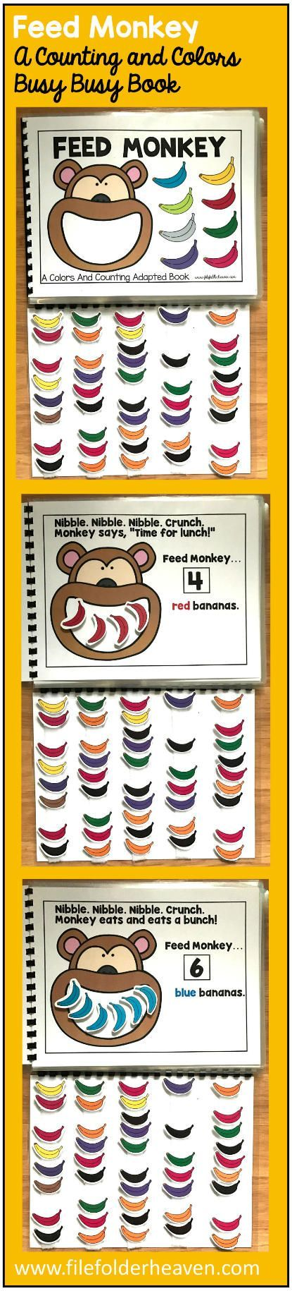 This Feed Monkey Colors and Counting Adapted Book is an adapted book that focuses on colors and counting in a fun and interactive way. In a small group, independent center or independent work station. A teacher or student reads through the book and feeds the animal or critter, the correct number and color the food on each page. Sample text: