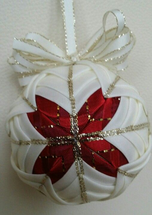 Christmas ball red and white patchwork