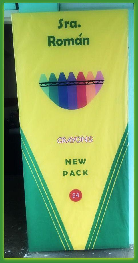 Puerta decorada tema caja de crayolas puertas decoradas for Puertas decoradas para regreso a clases