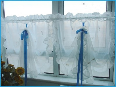 Image detail for ruffle edge embroidery sheer pull up for Pull up curtains how to make
