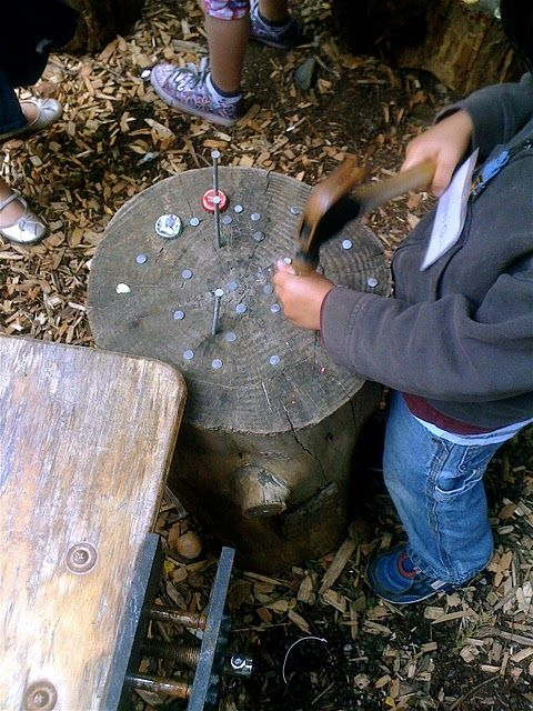 hammering into stumps- miss having a stump in my classroom...