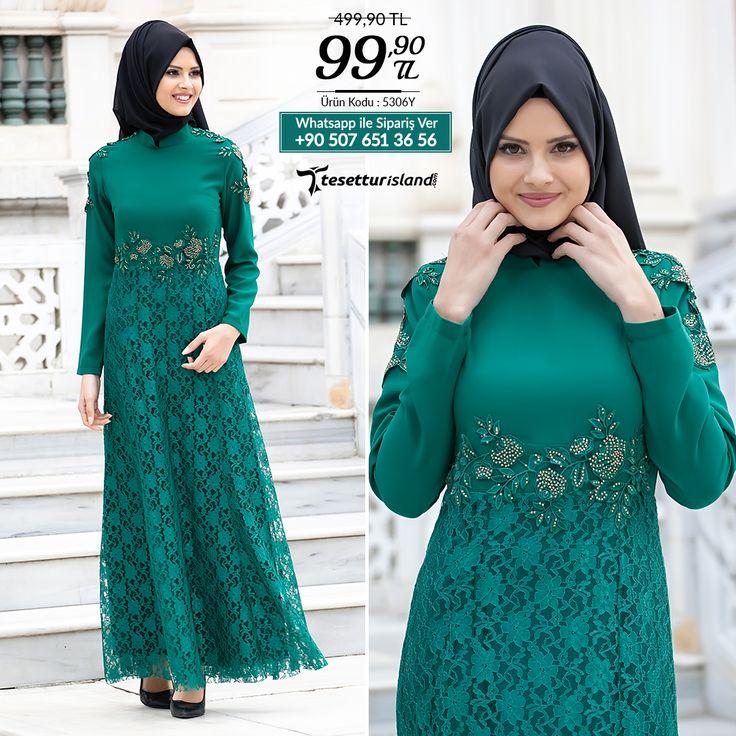 Tesettürlü Abiye Elbiseler - Eteği Dantelli Yeşil Abiye #tesettur #tesetturabiye #tesetturgiyim #tesetturelbise #tesetturabiyeelbise #kapalıgiyim #kapalıabiyemodelleri #şıktesetturabiyeelbise #kışlıkgiyim #tunik #tesetturtunik