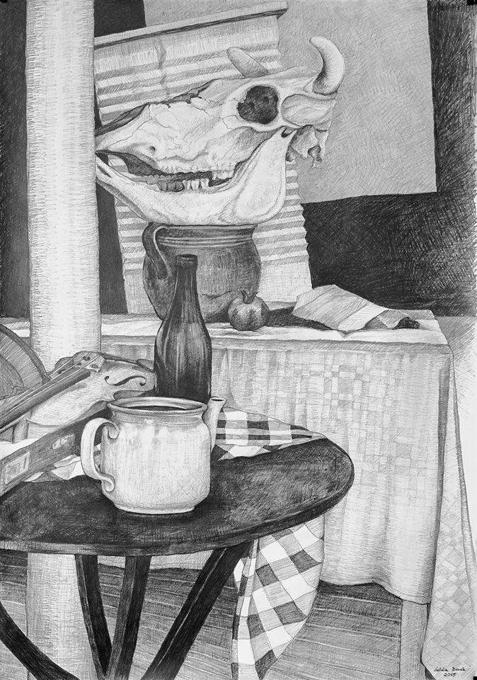 Still life with the skull of an ox by Natalia Bienek, pencil on paper