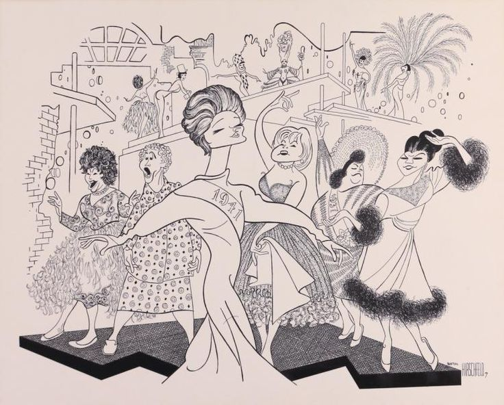 "Al Hirschfeld ~ Alexis Smith, Fifi D'Orsay, Ethel Shutta, Dorothy Collins, Mary McCarty, and Yvonne DeCarlo in Sondheim's ""Follies"""
