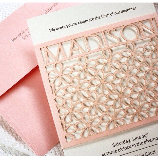 Laser cut is all the rage and this light pink invitation to a baby celebration is indeed gorgeous. It is by @katblustudio via easy.com.  #announcement #lasercut #pink #babymail #baby #babygirl #birth #card #birthcard #postcard #celebration #invitation #nofilter by babymail