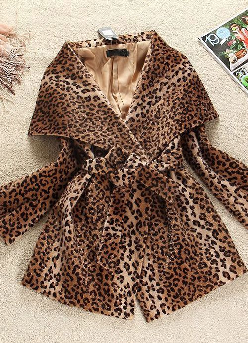Big Lapel Ladies Leopard Grain Coats Wholesale  Item Code:#YZA2268+Leopard Grain     Price: US$37.70