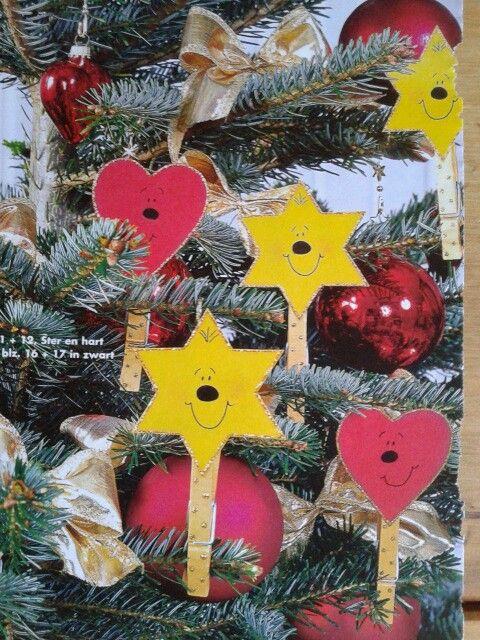 Leuke kerstboom versiering op een knijpertje. Leuk en simpel!