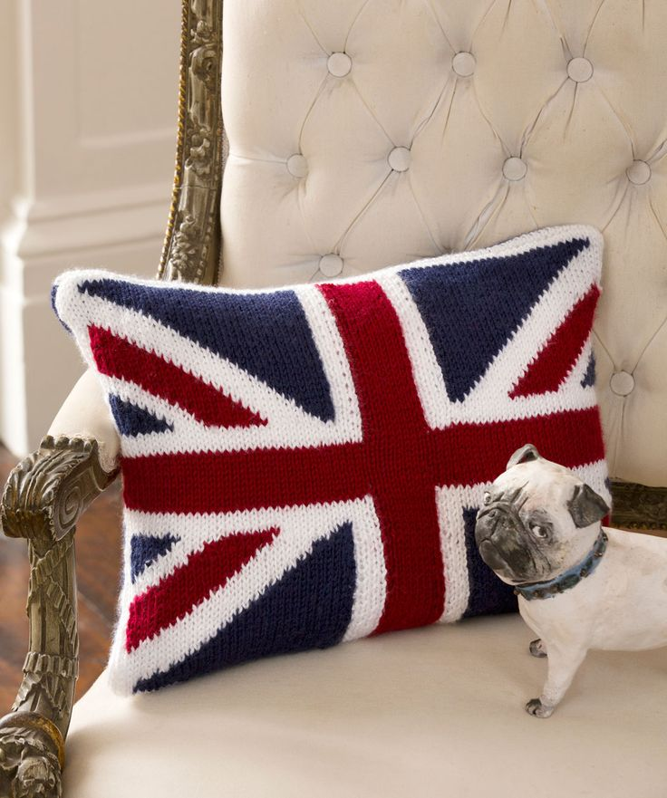Union Jack Pillow Knitting Pattern | Red Heart freebie, thanks so xox