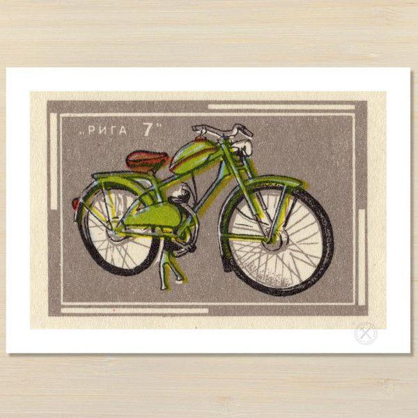 Green bike art print | pencil and hammer
