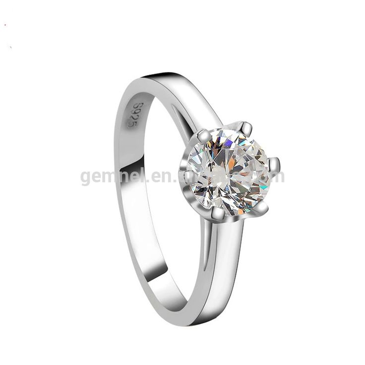 Simple 925 sterling silver engagement price 1 carat diamond ring
