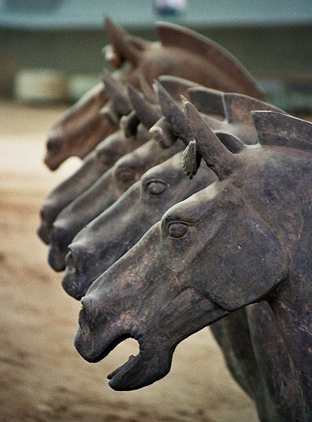 A row of horses, part of the Terracotta Army of Xian