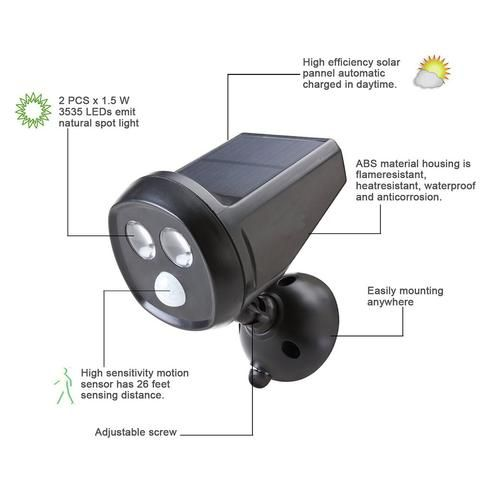 Solar Powered Motion Sensor Light, Super Bright Wall Light Waterproof Motion Sensor Security Light